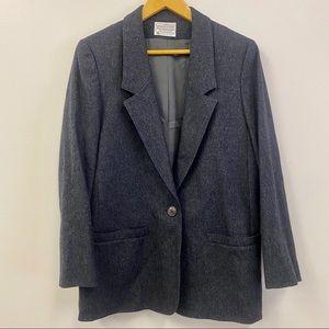 Miss Pendleton wool oversize blazer coat dark gray